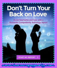 Don't Turn Your Back On Love - It is time to stop asking questions and start getting answers. With our Romantic Compatibility Report, you can discover the forces that attract you to each other, the explanations why you connect intellectually, mentally, and physically. Click here to learn more: http://www.horoscopeyearly.com/chart-readings/