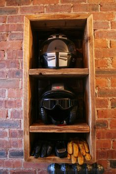 4 SALE. Motorbike Motorcycle helmet storage unit. 2 compartments for helmets, 1 for gloves etc. With antique brass key hooks. Man cave, garage, bike http://www.mancavegenius.org/