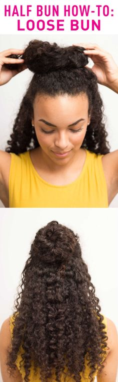 LOOSE HALF BUN HOW-TO: If you have thick, curly hair, this is one of the best looks for your hair type! Create the look by using your thumbs to gather your hair from ear to ear, pull hair to the top of your head, and loosely wrap your hair around itself. To make the bun looks loose and ~sexy~, secure it with pins instead of a hair tie. Click through for the full instructions and more half bun hairstyle tips!