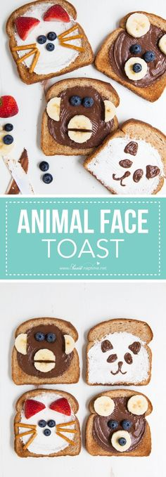 Animal face toast -a quick, fun and delicious after school snack idea for kids. Kids Cooking Recipes, Baby Food Recipes, Gourmet Recipes, Cooking For Kids, Cooking Corn, Cooking Games, Cooking Classes, Cooking Tips, Cute Food