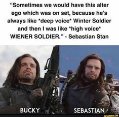 """""""Sometimes we would have this alter ego which was on set, because he's always like *deep voice* Winter Soldier and then I was like *high voice* WIENER SOLDIER."""" - Sebastian Stan – popular memes on the site iFunny. Marvel Man, Man Thing Marvel, Marvel Actors, Marvel Avengers, Marvel Jokes, Funny Marvel Memes, Avengers Memes, Bucky Barnes, The Witcher 3"""