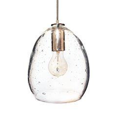 Hand Blown Seeded Glass Pendant Light- Brushed Nickel - Hammers and Heels This seeded glass shade will bring a unique touch to any space. The contrasting texture of the cord adds a modern touch to the classic aesthetic of this stunning pendant.