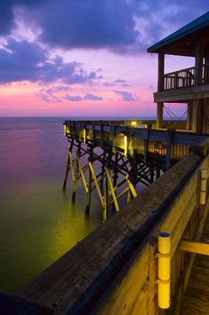 A breathtaking twilight view from the Folly Beach Fishing Pier. (Folly Beach, South Carolina)