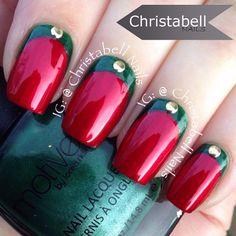 .@christabellnails   Christmas Ruffian Design for Day 10 Studded #nailartdec @californails featuri...   Webstagram