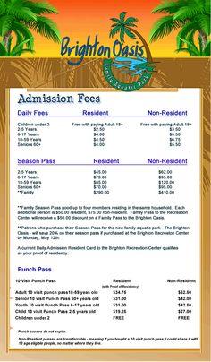 Admission Fees | Brighton Colorado
