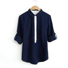 2016 Summer  Women New Fashion Casual Chiffon Blouses Lady White Navy Blue Patchwork Long Sleeve Slim Shirts Hot
