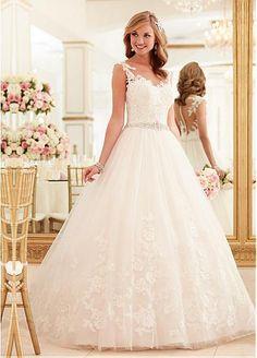Mavelous Tulle Bateau Neckline A-line Wedding Dress With Lace Appliques