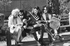 Gene Simmons, Ace Frehley and Paul Stanley in Central Park, 1974.