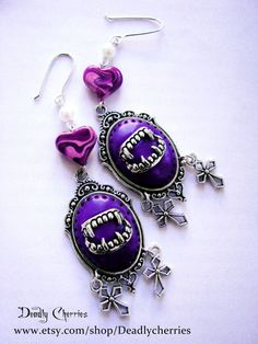 "Pastel Goth Lolita creepy cute earrings ""Sweet bite "" in dark purple Gothic Earrings, Goth Jewelry, Cameo Jewelry, Gothic Jewellery, Pastel Goth Fashion, Gothic Fashion, Pastel Punk, Goth Accessories, Harajuku"