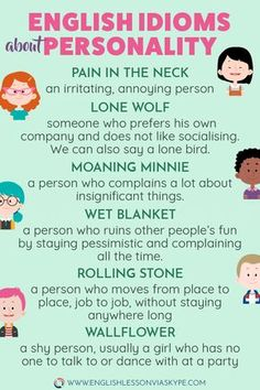 30 English Idioms describing Character and Personality Learn English Idioms related to Character and Personality. Learn to describe people in English. Improve your English vocabulary. Speak Fluent English, Learn English Grammar, English Vocabulary Words, Learn English Words, English Phrases, English Idioms, English Language Learning, English Lessons, Teaching English