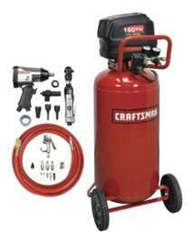 Craftsman 26 gal. Air Compressor with Air Tool Kit, but I think 20 gallons would do just fine