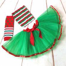 free shipping wholesale green with red kid christmas clothes set baby girls princess ribbon tutu dress party costumes(China (Mainland))