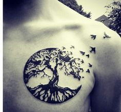 Circle, moon style tree and bird tattoo. Freedom. Let go of everything.