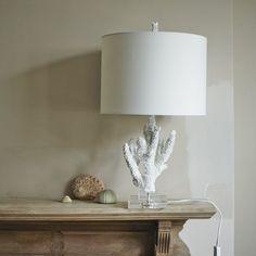 Coral Lamp with Natural Shade