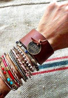 Leather Cuff Bracelet BREATHE Inspirational by ThreeBirdNest, $42.99