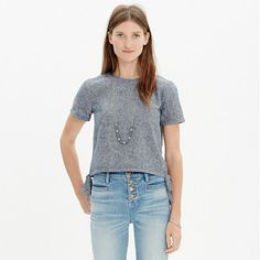 Cropped and tailored, this chambray top is a refined take on your favorite T-shirt. Knot at the sides or leave the ties hanging loose.  <ul><li>Cropped fit.</li><li>Cotton chambray/linen.</li><li>Machine wash.</li><li>Import.</li></ul>