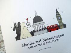 I Love London themed wedding/evening invitations by bunnydelicious
