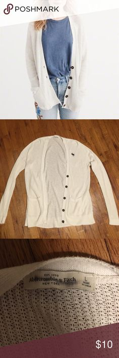 Abercrombie cardigan Lightly worn white cardigan by Abercrombie. Says size large but easily fits S-L Abercrombie & Fitch Sweaters Cardigans