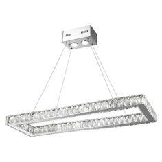 Worldwide Lighting W83145K34 Galaxy 16 Light 34 Wide LED Linear Chandelier with, Silver steel