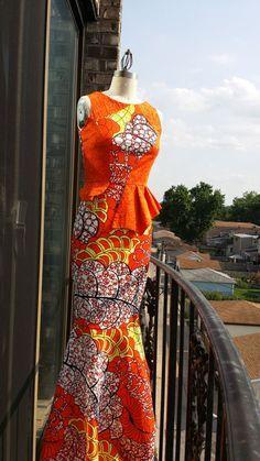 Vibrant orange African Print Mixed Peplum Gown by AkeseStyleLines. Latest African Fashion, African Prints, African fashion styles, African clothing, Nigerian style, Ghanaian fashion, African women dresses, African Bags, African shoes, Nigerian fashion, Ankara, Aso okè, Kenté, brocade etc ~DK