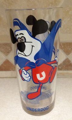 Underdog Cartoon Character Glass Tumbler Vintage | Vintage Cartoon, Vintage Tv, Gas Station Prices, Cartoon Glasses, My Youth, The Good Old Days, Cartoon Characters, Childhood Memories, Life Lessons