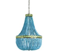 - Overview - Details - Why We Love It - Boldly fusing a traditional form with unexpected materials, the Hedy Chandelier explodes in a brilliant splash of color. Gorgeous Turquoise and Jade-polished gl