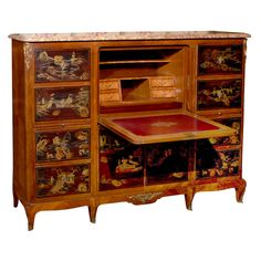 Chinoiserie Secretary  France  circa 1920  Marble top Louis XV style secretary with Chinoiserie lacquer panels.    To see more items from Foxglove Antiques, please visit our website: www.foxgloveantiques.com