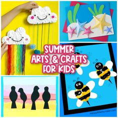 """Summer has arrived, and since it's now in full swing, it's time to plan out some fun projects for the kids. We've compiled a fantastic list of Summer Arts and Crafts for Kids, so you'll have plenty of options the next time the kids say, """"I'm bored!"""" Work your way through this list over the summer to make crafts that feature campfires, ice cream, bees, flowers, seahorses, fish, sunglasses, and so many other summer themes. You're going to love the creative ideas we've featured!"""