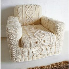 hand knitted cream aran armchair slip cover ($690) ❤ liked on Polyvore