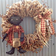 Burlap Wreath, Primitive Wreath, black doll baby, primitive rag doll, burlap and berries, black rag doll, burgundy and tan, prim doll decor by TranquilitybyAney on Etsy