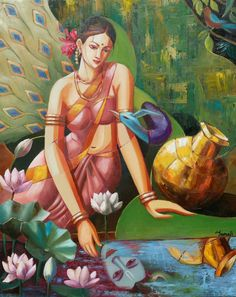 This beautiful painting depicts 'Birahini', the nayika yearning for her lover. Like the peacock that longs for the rains, the nayika (Radha) sits by the beautiful waters and longs for her lover (Krishna) seen in the reflection. Krishna Painting, Krishna Art, Krishna Images, Lord Krishna, Indian Folk Art, Indian Artist, Meditation France, Clay Art Projects, Indian Art Paintings