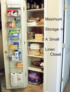 Organized Bathroom Linen Closet Anyone Can Have - Kelley Nan- Elfa ...
