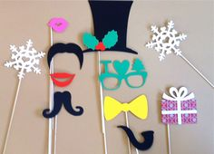 Holiday Photo Booth Props - Set Of 11 Christmas Photo Prop Party Decorations Holiday PhotoBooth Props Christmas Party Decorations Photo Prop. $22.95, via Etsy.