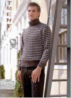 Мужской пуловер, связанный ленивым жаккардом. | Вязание: Для мужчин | Постила