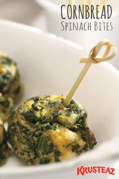 Cornbread Spinach Bites Made With Krusteaz Southern Cornbread & Muffin Mix Yummy Snacks, Healthy Snacks, Yummy Food, Spinach Bites Recipe, Appetizer Recipes, Appetizers, Vegetarian Recipes, Cooking Recipes, Vegan Meals