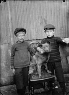 Tveir drengir og hundur / Two boys and a dog, 1920-1930. Iceland