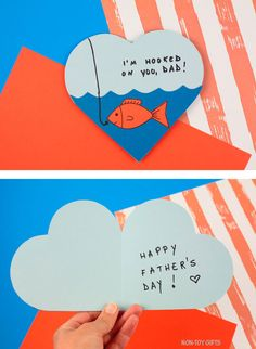 This Hooked On Dad card is a cute and easy Father's Day card kids can make for their dads. Cut and glue craft. Water Patterns, Heart Patterns, Fathers Day Cards, Happy Fathers Day, Orange Fish, Non Toy Gifts, Orange Paper, Heart Cards, Colored Paper