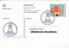 Bilhete postal circulado de Povoa de Varzim para Estoi com carimbo comemorativo alusivo ao monumento milenário