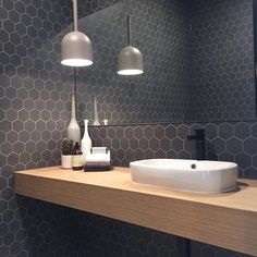 Surprising Hex Tile Bathroom Wall Bathrooms Decorating Hexagon Shower Marble Feature Large Marvelous Tiles Black And White Floor Ideas Astonishing Fireplace Wonderful - Beten Bathroom Toilets, Laundry In Bathroom, Bathroom Inspo, Bathroom Renos, Bathroom Wall, Bathroom Inspiration, Bathroom Interior, Bathroom Ideas, Light Grey Bathrooms
