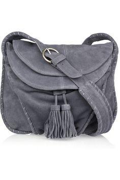 Vanessa Bruno Tasseled steel blue suede shoulder bag 1