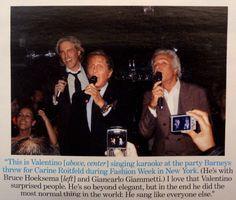Bruce Hoeksema, Valentino, and Giancarlo singing Frank Sinatra Very Valentino, Last Emperor, Singing, Editorial, The Originals, Beauty, Style, Swag, Beauty Illustration