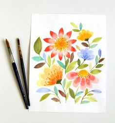 33 + Most Popular Ways To Watercolor Paintings Easy Step By Step Flower 77 Watercolor Flowers Tutorial, Step By Step Watercolor, Step By Step Painting, Easy Watercolor, Watercolour Tutorials, Watercolor Cards, Flower Tutorial, Watercolour Painting, Simple Watercolor Flowers