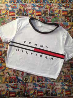 Hilfiger Crop Top T-shirt 80s 90s Hipster Dress Up by 123PinkandMe
