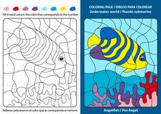 Dibujos infantiles para colorear y aprender inglés, Dibujo de un Pez Ángel, Angelfish Angel Fish, Underwater World, Coloring Pages, Angelfish, Free Coloring Pages, Colors, Learning English, Pages To Color, Colouring Pages