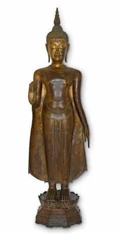 The image of the Buddha is distinguished in various different ways. The Buddha is usually shown in a stylised pose or asana. Standing Buddha Statue, Art Thai, Buddha Beads, Victoria And Albert Museum, Religion, Collection, Wedding Dresses, Image, Copper