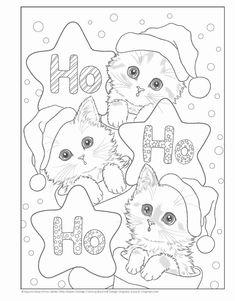 Santa's Kitty Helpers Holiday Coloring Book (Design Originals): Kayomi Harai: Cat Coloring Page, Animal Coloring Pages, Coloring Pages To Print, Coloring Book Pages, Coloring Pages For Kids, Kids Coloring, Christmas Kitten, Christmas Drawing, Christmas Coloring Sheets