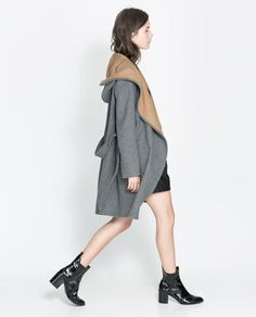 Image 2 of HOODED WOOL COAT from Zara