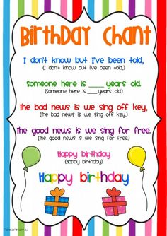 Birthday Chant for the classroom. Adorable