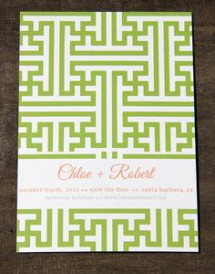 Green Geo Save The Date by CameronDolanDesigns on Etsy, $3.75