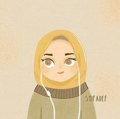 New Art Drawings Girl Portraits Illustrations Ideas Portrait Illustration, Illustration Sketches, Illustrations, Girl Cartoon, Cartoon Art, Cartoon Quotes, Hijab Drawing, Islamic Cartoon, Anime Muslim
